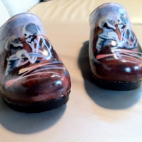 Love You to Death on Handpainted Clogs by The Swanx!