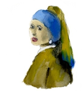 Girl With Pearl Earring, after Vermeer. watercolor by jparadisi 2012