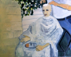 Shaving My Head oil on canvas by Julianna Paradisi