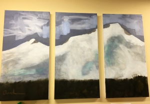 Wy' East (Mt Hood) Triptych #2 acrylic on canvas 2016 by Julianna Paradisi